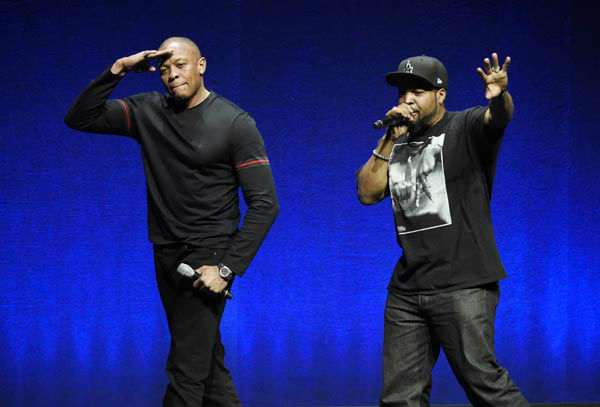 "<div class=""meta image-caption""><div class=""origin-logo origin-image none""><span>none</span></div><span class=""caption-text"">FILE - In this Thursday, April 23, 2015, file photo, N.W.A. members Dr. Dre, left, and Ice Cube salute the crowd after speaking during CinemaCon 2015 at Caesars Palace. (AP Photo/ Chris Pizzello)</span></div>"