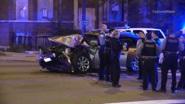 A police sergeant was injured in a crash on South Morgan Street near West Garfield Boulevard on Chicago's South Side.