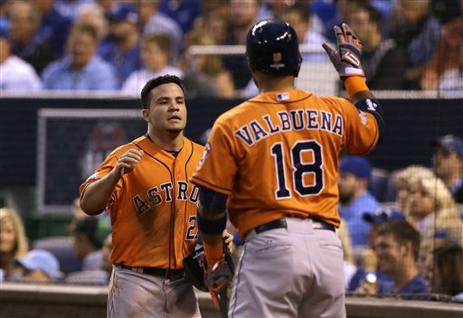 "<div class=""meta image-caption""><div class=""origin-logo origin-image none""><span>none</span></div><span class=""caption-text"">Houston Astros' Jose Altuve, left, celebrates with teammate Luis Valbuena after scoring a run (AP Photo/ Orlin Wagner)</span></div>"
