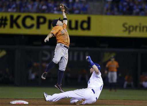 "<div class=""meta image-caption""><div class=""origin-logo origin-image none""><span>none</span></div><span class=""caption-text"">Kansas City Royals' Ben Zobrist, right, steals second base as Houston Astros second baseman Jose Altuve, left, leaps for the throw (AP Photo/ Orlin Wagner)</span></div>"