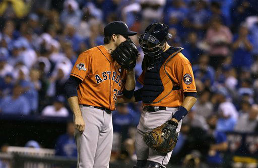 "<div class=""meta image-caption""><div class=""origin-logo origin-image none""><span>none</span></div><span class=""caption-text"">Houston Astros starting pitcher Collin McHugh, left, talks with catcher Jason Castro during the first inning (AP Photo/ Orlin Wagner)</span></div>"