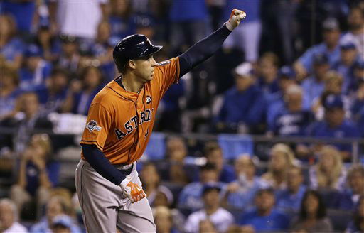"<div class=""meta image-caption""><div class=""origin-logo origin-image none""><span>none</span></div><span class=""caption-text"">Houston Astros' George Springer celebrates after his solo home run during the fifth inning (AP Photo/ Orlin Wagner)</span></div>"