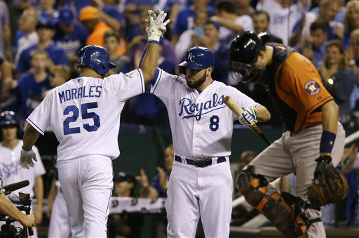 "<div class=""meta image-caption""><div class=""origin-logo origin-image none""><span>none</span></div><span class=""caption-text"">Kansas City Royals' Kendrys Morales, left, celebrates with teammate Mike Moustakas (8) after hitting a solo home run (AP Photo/ Orlin Wagner)</span></div>"