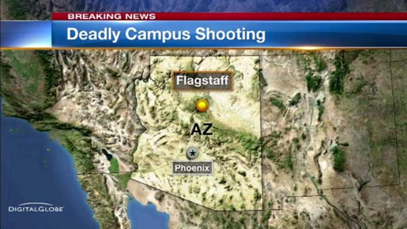 Officials say one person is dead and three others are wounded following an early morning shooting at Northern Arizona University.
