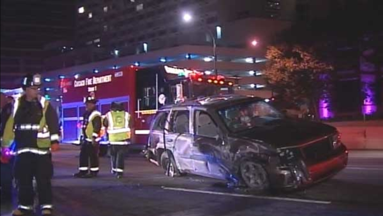 Six people were injured in a rollover crash on northbound Lake Shore Drive near Ontario Street in Chicago's Streeterville neighborhood.