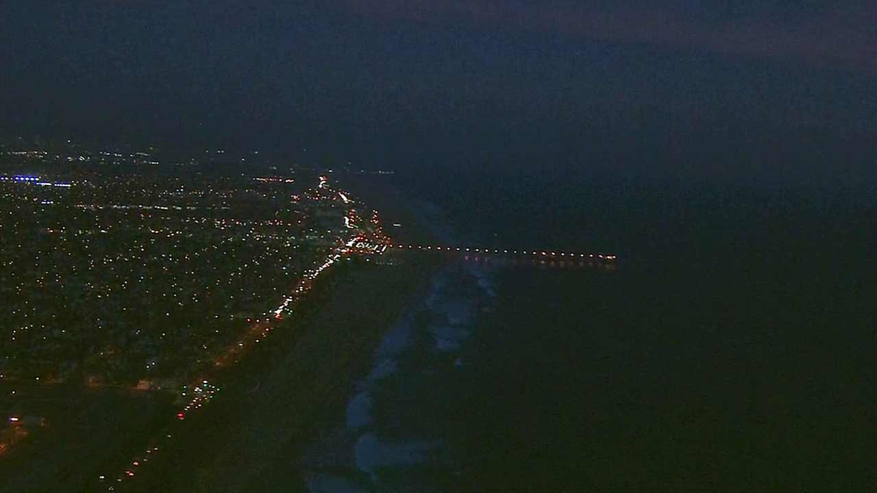 An aerial view of Sunset Beach shot by AIR7 HD.