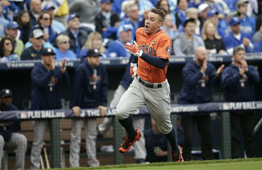 "<div class=""meta image-caption""><div class=""origin-logo origin-image none""><span>none</span></div><span class=""caption-text"">Houston Astros' George Springer scores a run on a double by teammate Colby Rasmus during the first inning of Game 2 (AP Photo/ Charlie Riedel)</span></div>"