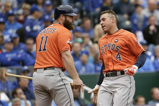 "<div class=""meta image-caption""><div class=""origin-logo origin-image none""><span>none</span></div><span class=""caption-text"">Houston Astros' George Springer, right, celebrates with teammate Evan Gattis after scoring (AP Photo/ Charlie Riedel)</span></div>"