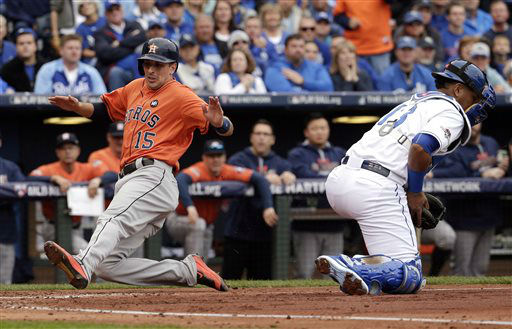 "<div class=""meta image-caption""><div class=""origin-logo origin-image none""><span>none</span></div><span class=""caption-text"">Houston Astros' Jason Castro, left, scores on a single by teammate George Springer (AP Photo/ Charlie Riedel)</span></div>"