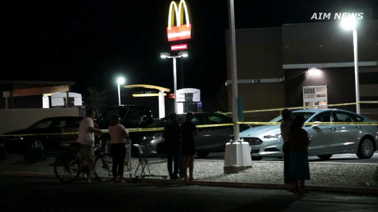 Riverside County sheriff's deputies investigate a fatal shooting inside a McDonald's in the 28000 block of Bradley Avenue in Menifee on Friday, Oct. 9, 2015.