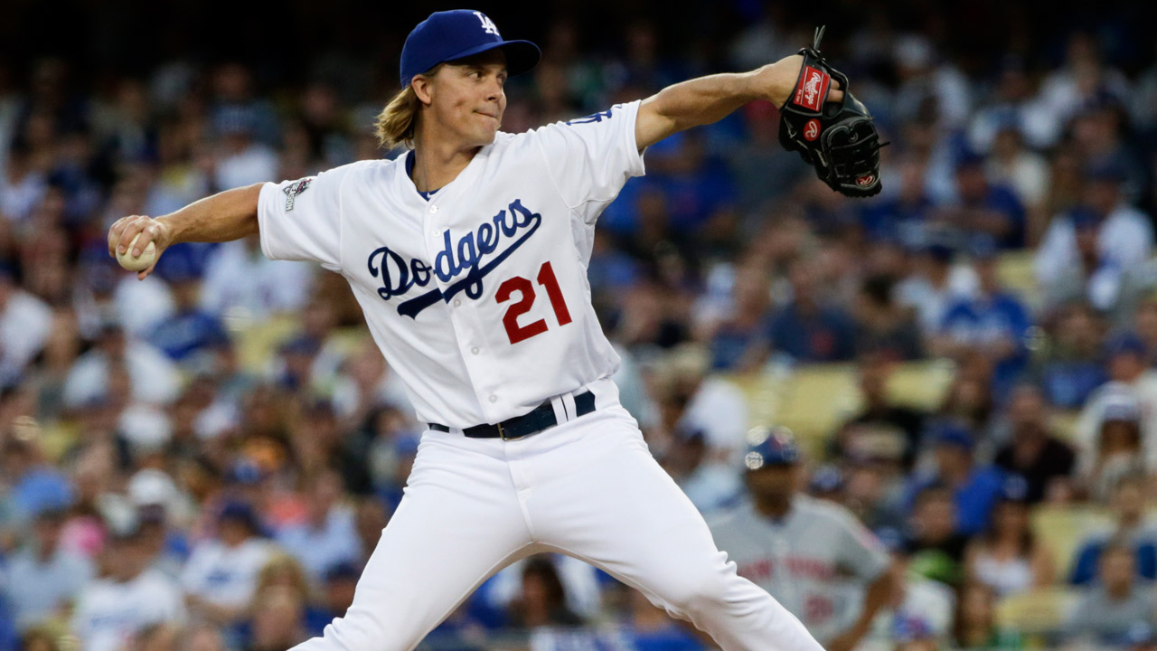 Los Angeles Dodgers starting pitcher Zack Greinke throws to the New York Mets in Game 2 of baseball's National League Division Series, Saturday, Oct. 10, 2015 in Los Angeles.