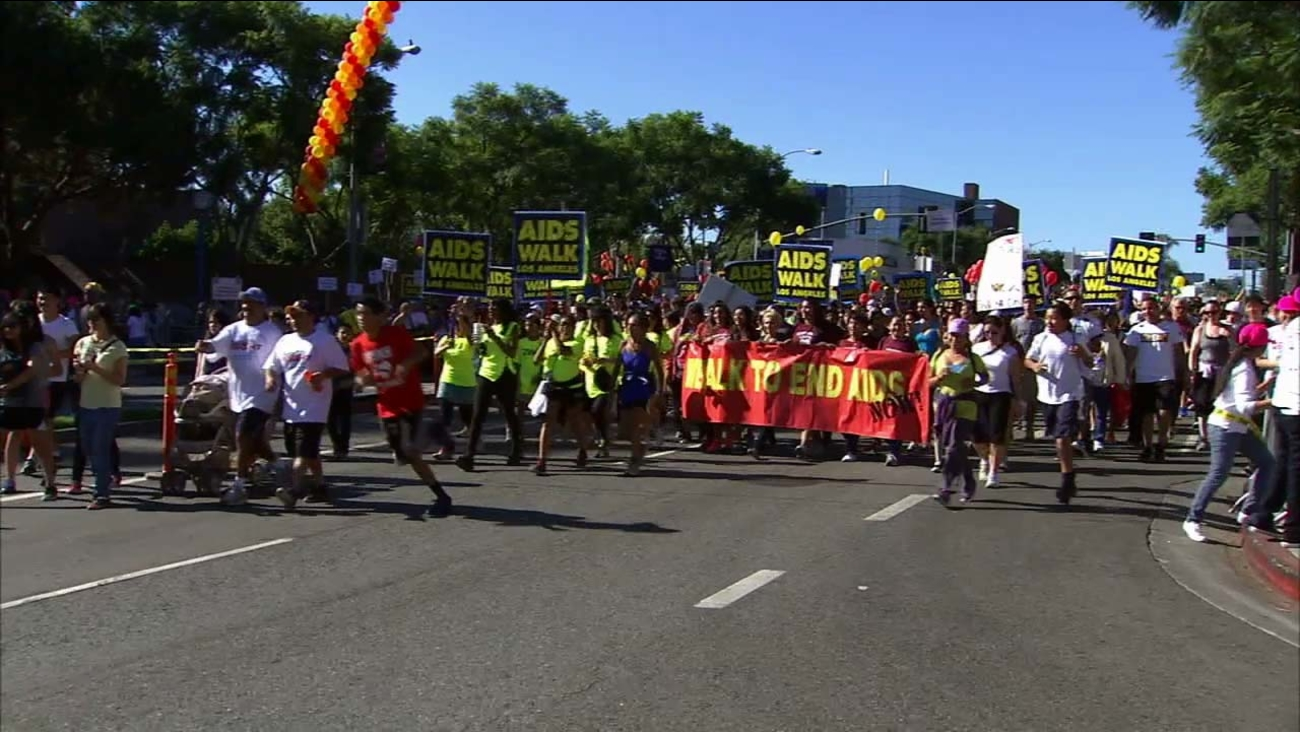 Thousands of people walk for a good cause at the annual AIDS Walk Los Angeles in West Hollywood Park Sunday, Oct. 11, 2015.