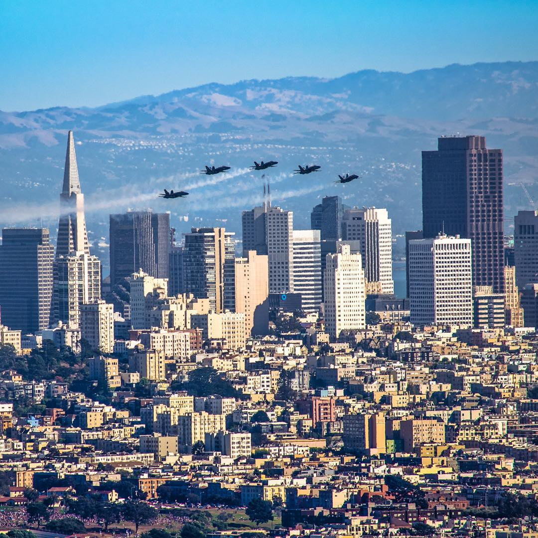 <div class='meta'><div class='origin-logo' data-origin='none'></div><span class='caption-text' data-credit='Photo submitted to KGO-TV by kurtzmanos/Instagram'>The Fleet Week air show featuring the Navy's Blue Angels and other military aircrafts took flight over the San Francisco Bay on Saturday, October 10, 2015.</span></div>