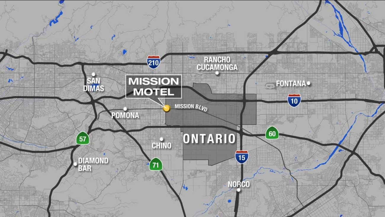 A map shows the location of a motel in Ontario, where a man's body was found on Sunday, Oct. 11, 2015.