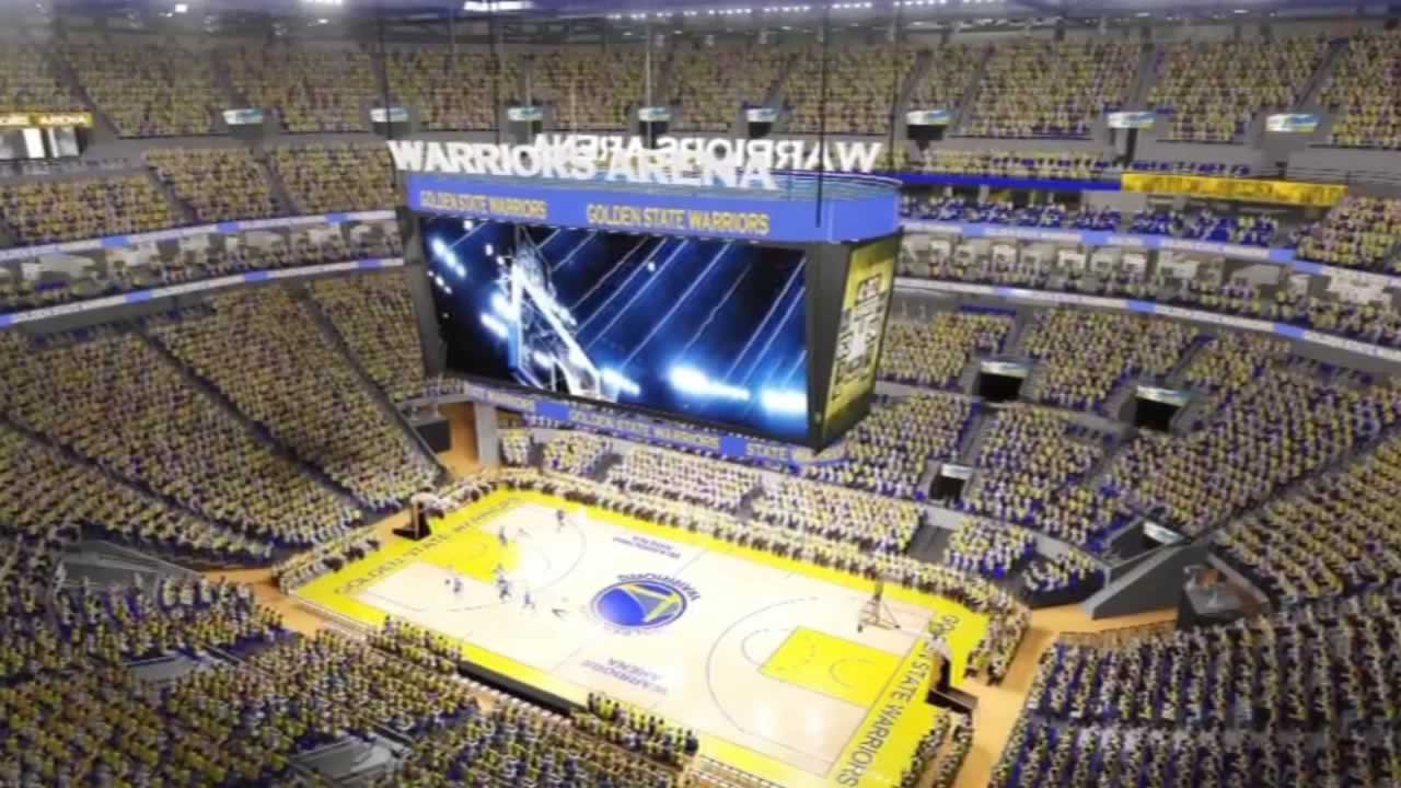 This animation shows what the proposed inside of the new Warriors arena will look like in San Francisco's Mission Bay.