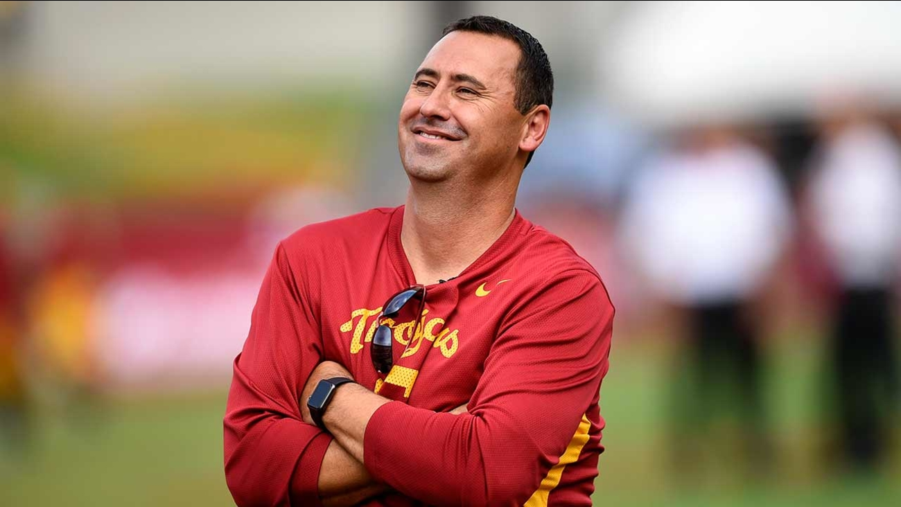 Southern California head coach Steve Sarkisian watch his team warmup before the start of the first half of an NCAA college football game against Idaho, Saturday, Sept. 12, 2015.