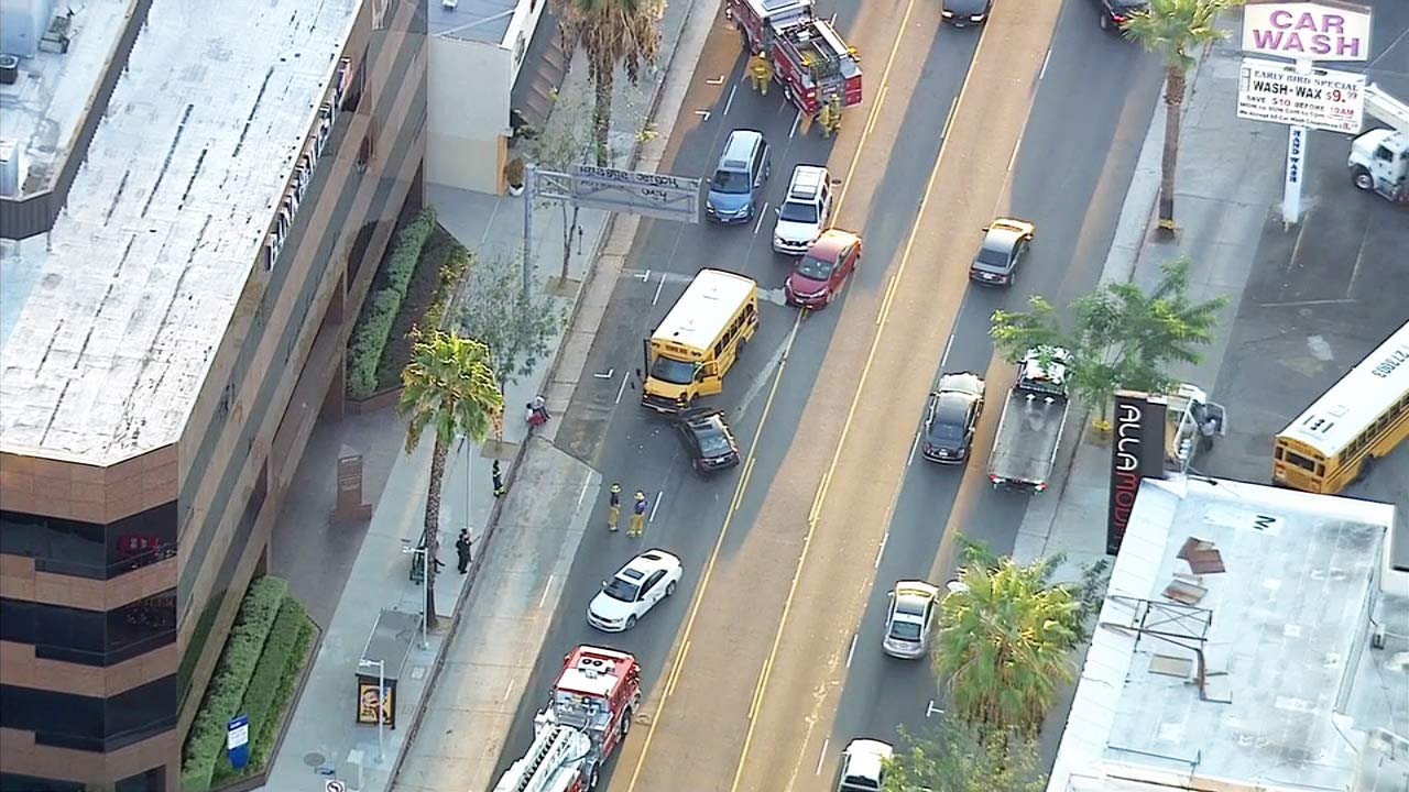 A school bus and multiple vehicles were involved in a crash in Sherman Oaks on Tuesday, Oct. 13, 2015.