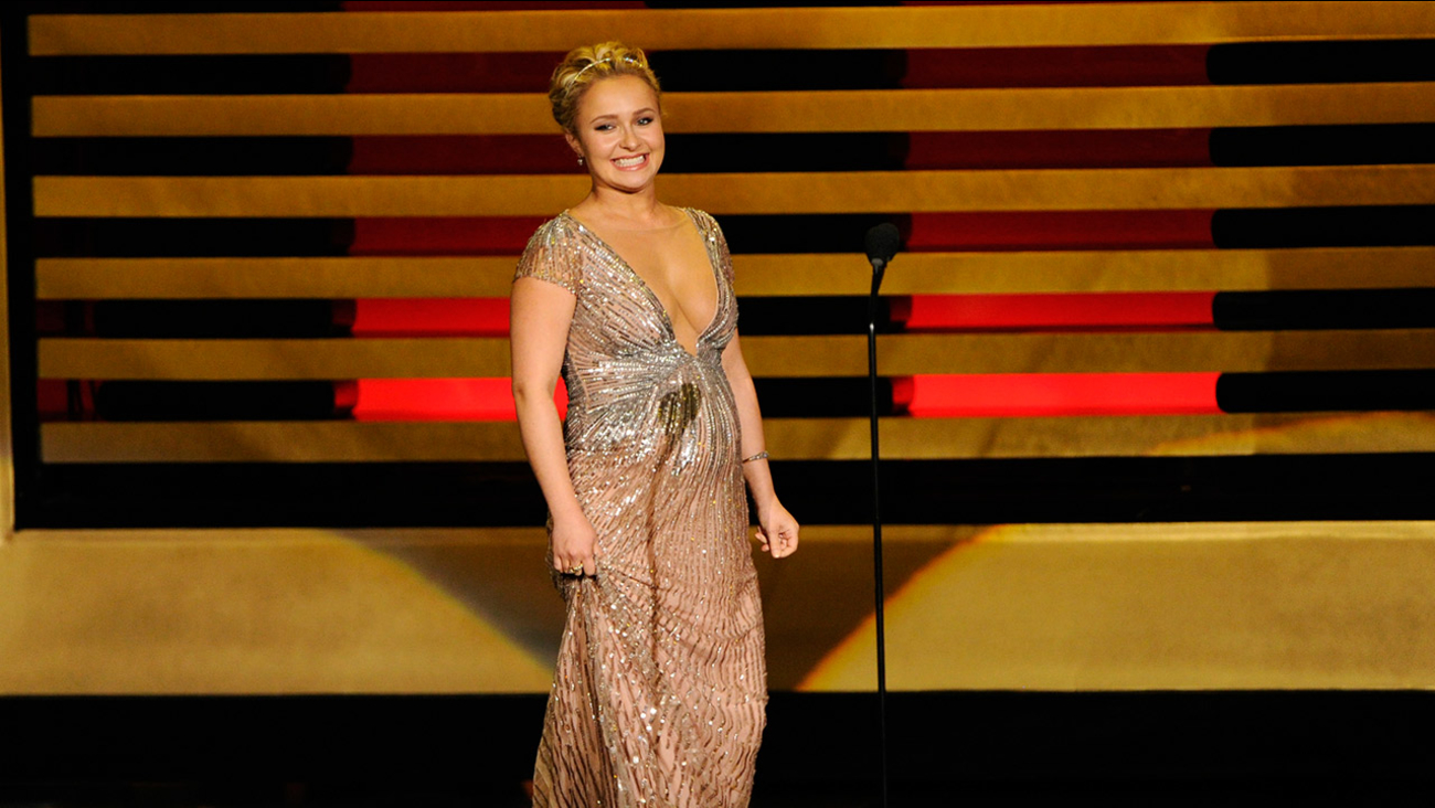 Hayden Panettiere presents the award for outstanding directing for a comedy series on stage at the 66th Emmy Awards at the Nokia Theatre L.A. Live on Aug. 25, 2014.