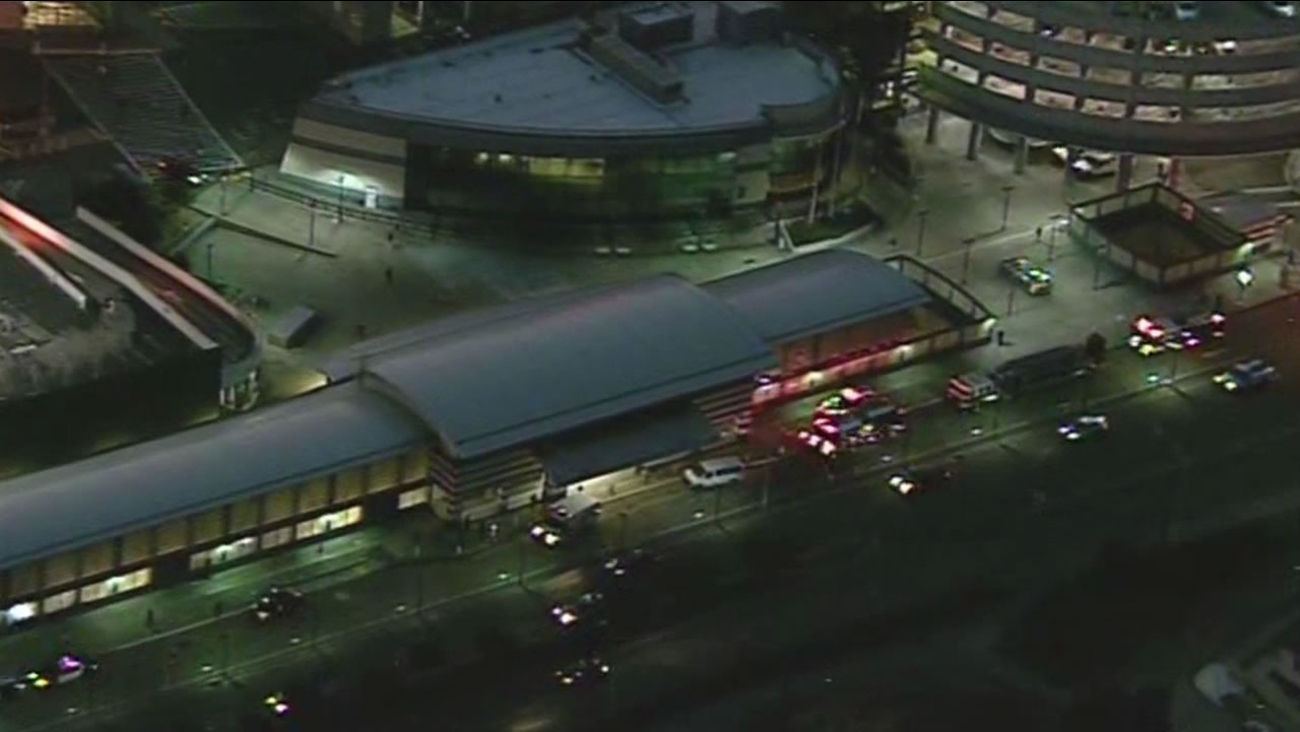 Emergency officials are responding to the San Bruno BART station after a pedestrian was struck and killed, Oct. 13, 2015.