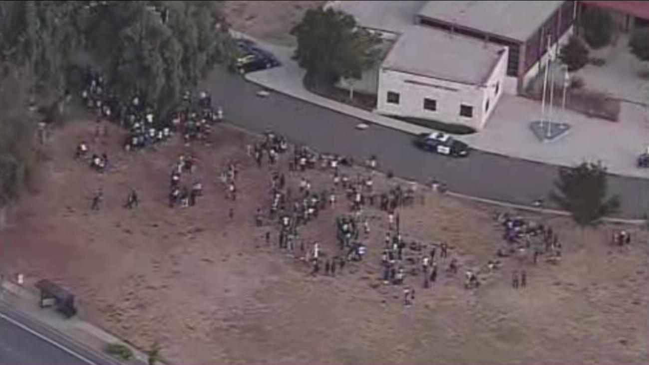 Students at American High School in Fremont, Calif., were forced to evacuate following a small fire on campus on Wednesday, October 14, 2015.