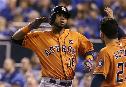 "<div class=""meta image-caption""><div class=""origin-logo origin-image none""><span>none</span></div><span class=""caption-text"">Houston Astros' Luis Valbuena celebrates with teammate Jose Altuve, right, after hitting a two-run home run during the second inning (AP Photo/ Orlin Wagner)</span></div>"