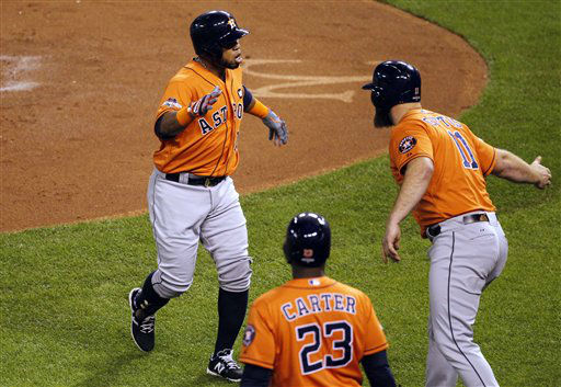 "<div class=""meta image-caption""><div class=""origin-logo origin-image none""><span>none</span></div><span class=""caption-text"">Houston Astros' Luis Valbuena, left, celebrates with teammates after hitting a two-run home run during the second inning (AP Photo/ Colin E. Braley)</span></div>"