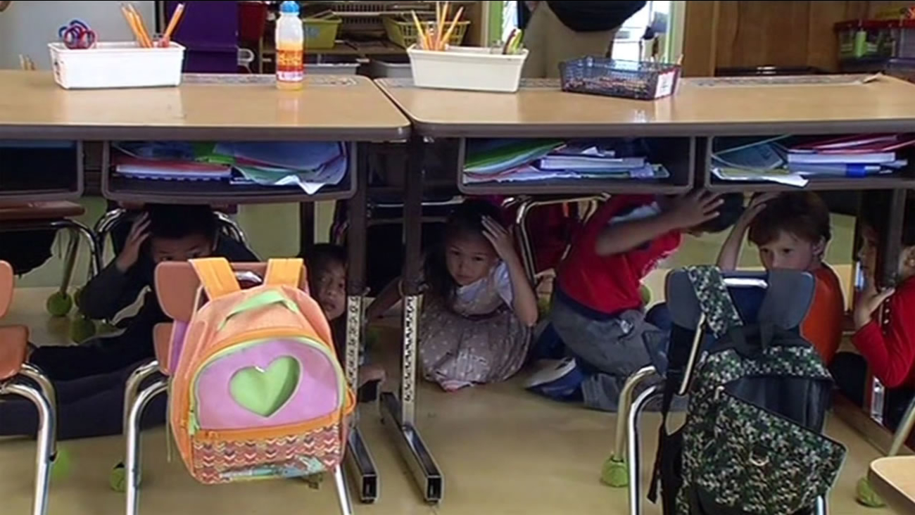 Bay Area students participated in the Great Shakeout, the largest earthquake drill ever, on Thursday, October 15, 2015.
