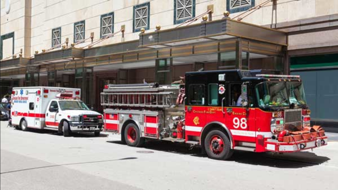 A typical American red municipal fire car in Chicago.