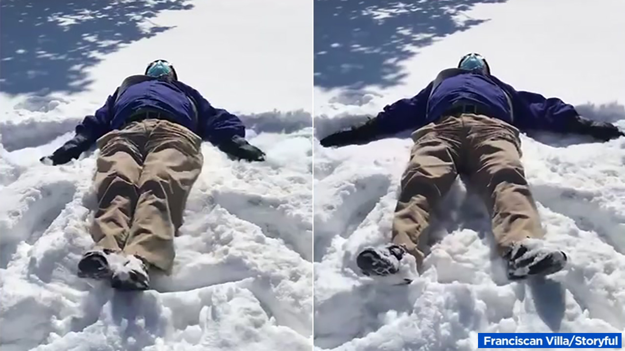 79-year-old Calif. man makes 1st-ever snow angel in Oklahoma
