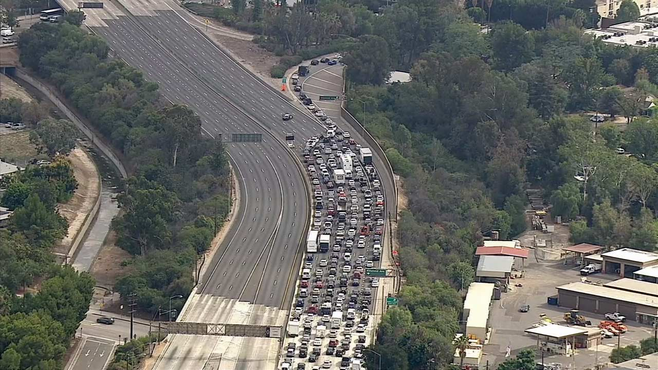 The 101 Freeway was shut down in both directions near Lankershim Boulevard in Studio City due to police activity on Friday, Oct. 16, 2015.
