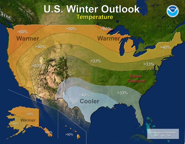 NOAA's winter temperature outlook