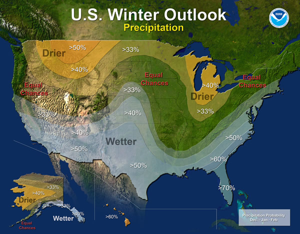 NOAA's winter precipitation outlook shows a 50 percent chance it will be wetter than normal.