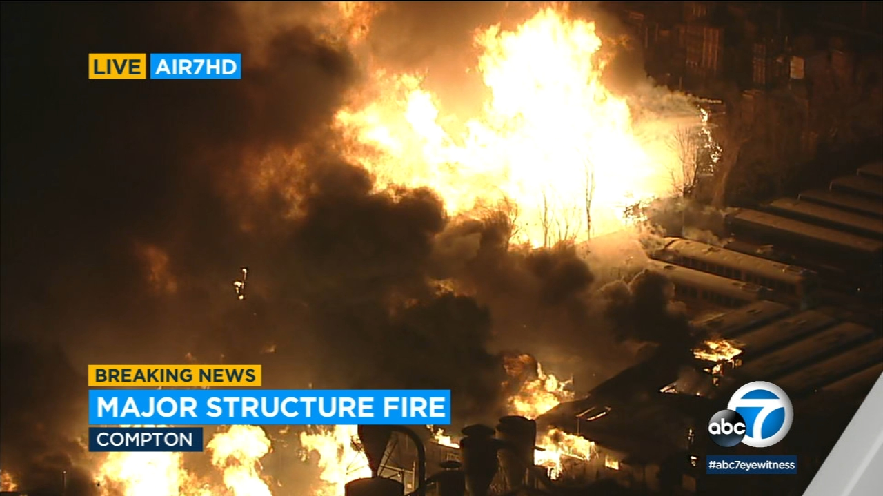 Massive industrial complex fire rips through structures, buses in Compton