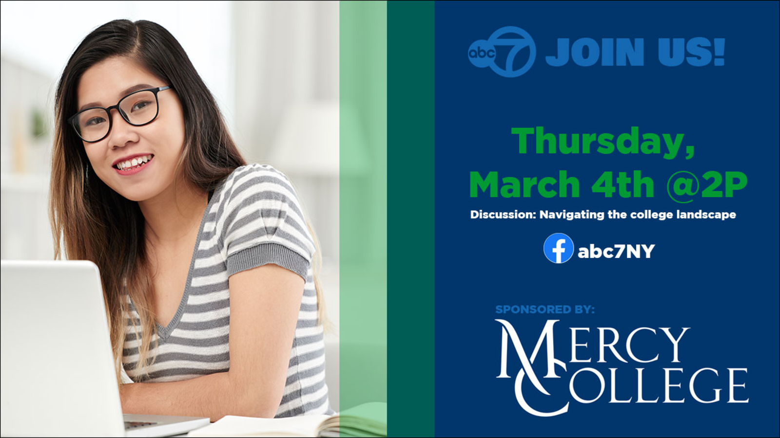 Watch this Facebook Live Event: MERCY COLLEGE – College to Career, Thursday at 2:00pm