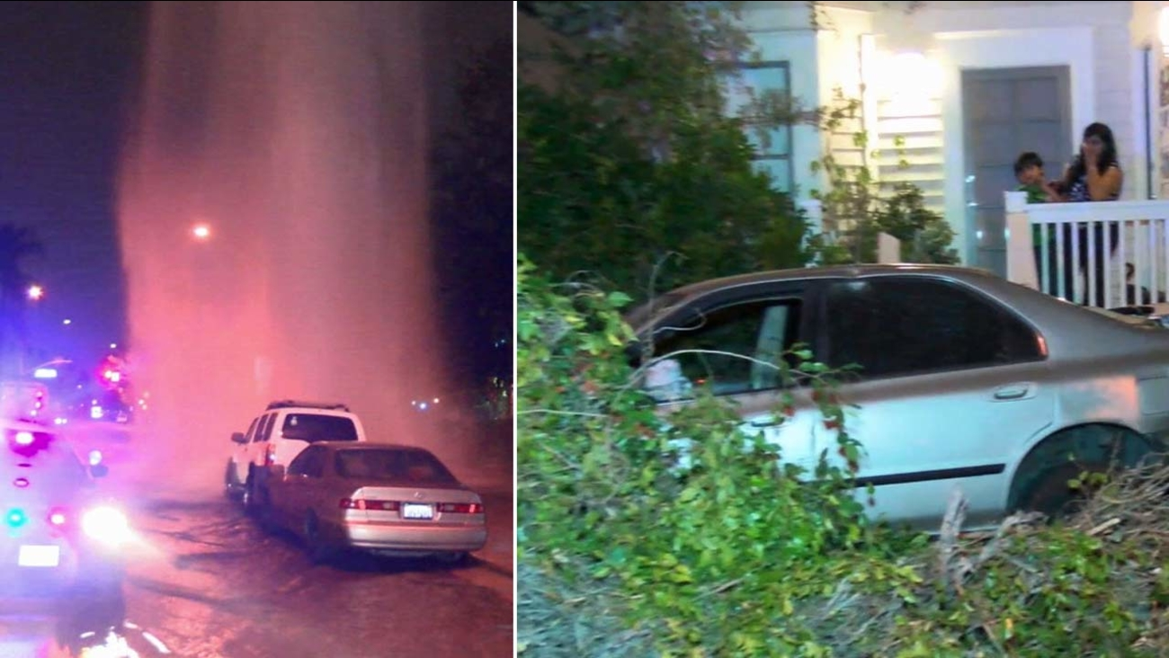 The scene of a fire hydrant shooting water into the air is seen with a car crashed into a tree after a chase suspect lost control of his vehicle early Saturday, Oct. 17, 2015.