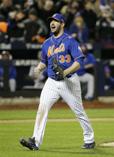 "<div class=""meta image-caption""><div class=""origin-logo origin-image none""><span>none</span></div><span class=""caption-text"">New York Mets pitcher Matt Harvey reacts after getting Chicago Cubs' Tommy La Stella to strike out during the seventh inning of Game 1 (AP Photo/ David J. Phillip)</span></div>"