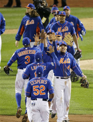 "<div class=""meta image-caption""><div class=""origin-logo origin-image none""><span>none</span></div><span class=""caption-text"">New York Mets celebrate after Game 1. (AP Photo/ David Goldman)</span></div>"