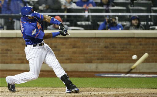 "<div class=""meta image-caption""><div class=""origin-logo origin-image none""><span>none</span></div><span class=""caption-text"">New York Mets' Yoenis Cespedes breaks his bat as he grounds out during the eighth inning. (AP Photo/ David J. Phillip)</span></div>"