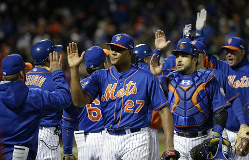 "<div class=""meta image-caption""><div class=""origin-logo origin-image none""><span>none</span></div><span class=""caption-text"">The New York Mets celebrate after Game 1. (AP Photo/ David J. Phillip)</span></div>"