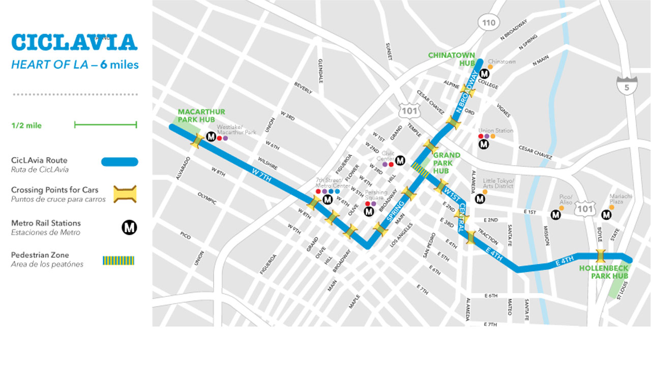 A map of CicLAvia's Heart of LA event on Sunday, Oct.18, 2015.