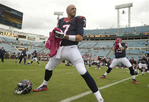 "<div class=""meta image-caption""><div class=""origin-logo origin-image none""><span>none</span></div><span class=""caption-text"">Houston Texans quarterback Brian Hoyer warms up before an NFL football game in Jacksonville, Fla., Sunday, Oct. 18, 2015. (AP Photo/ Phelan M. Ebenhack)</span></div>"
