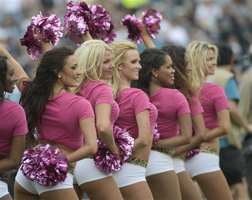 "<div class=""meta image-caption""><div class=""origin-logo origin-image none""><span>none</span></div><span class=""caption-text"">Jacksonville Jaguars cheerleaders perform during the first half (AP Photo/ Phelan M. Ebenhack)</span></div>"