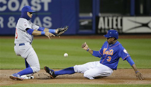 "<div class=""meta image-caption""><div class=""origin-logo origin-image none""><span>none</span></div><span class=""caption-text"">New York Mets' Curtis Granderson (3) steals second as Chicago Cubs' Starlin Castro has trouble with the throw. (AP Photo/ Julie Jacobson)</span></div>"