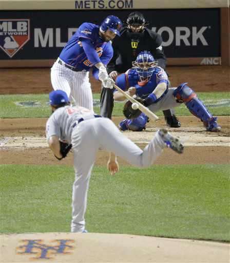 "<div class=""meta image-caption""><div class=""origin-logo origin-image none""><span>none</span></div><span class=""caption-text"">New York Mets' Daniel Murphy hits a two-run home run during the first inning of Game 2. (AP Photo/ David Goldman)</span></div>"