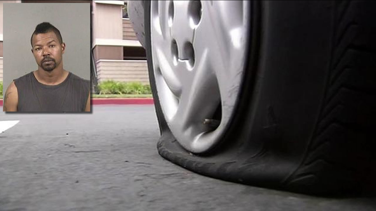 35-year-old Brandon Thompson of Hayward and a slashed tire