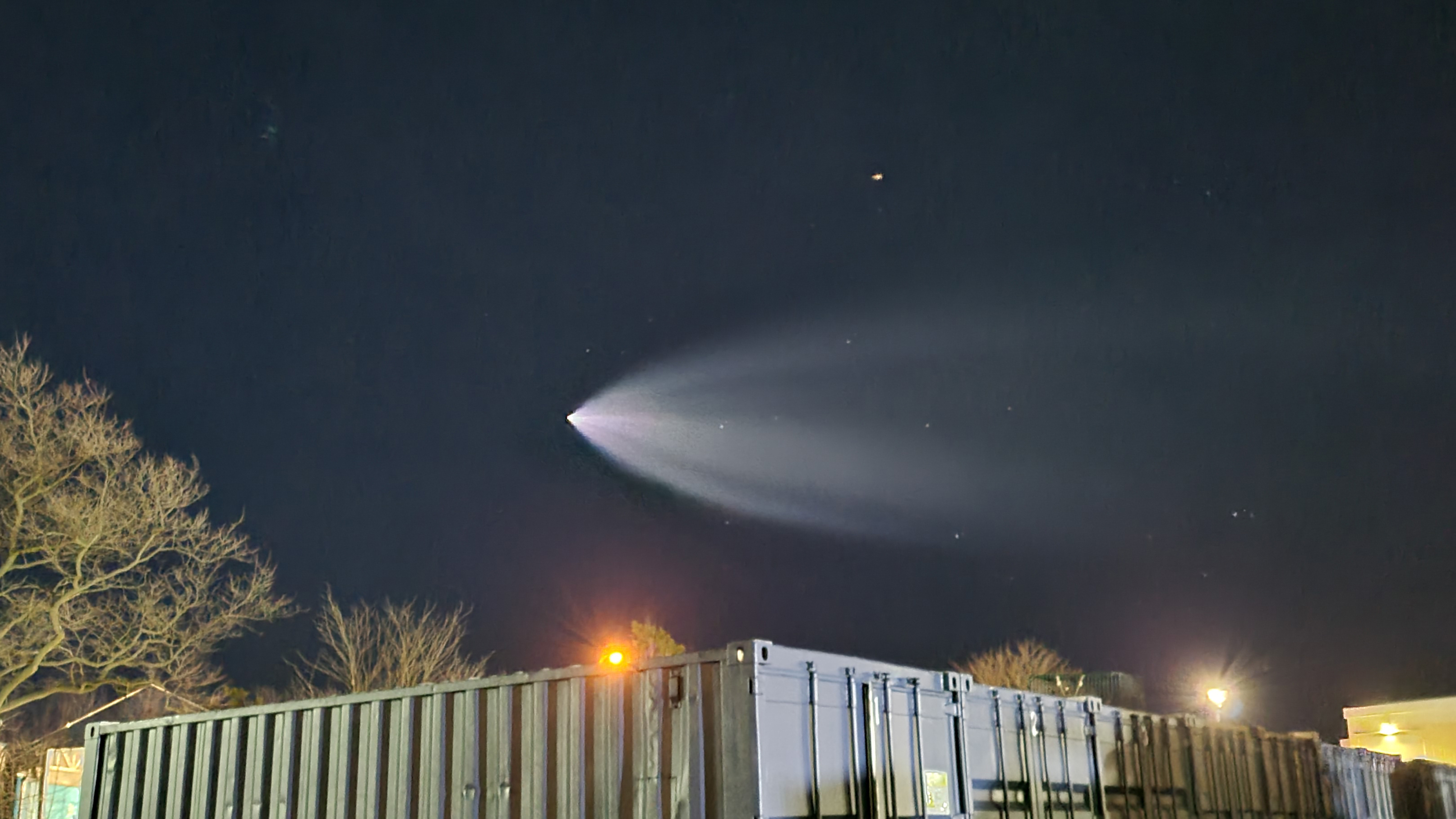 A photo captured by Christopher Quiles shows the SpaceX launch March 14, 2021 from Coney Island.