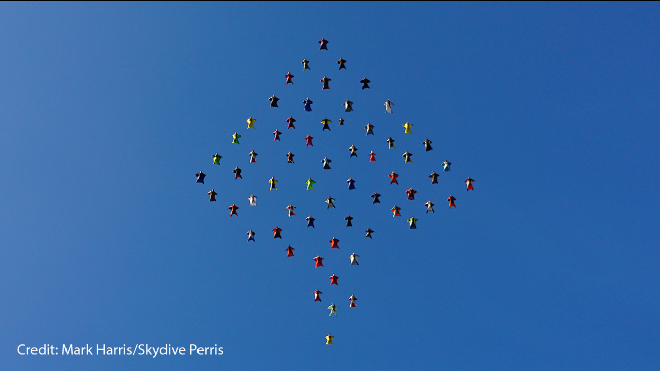 Sixty-one skydivers set a record in Riverside County on Oct. 17.