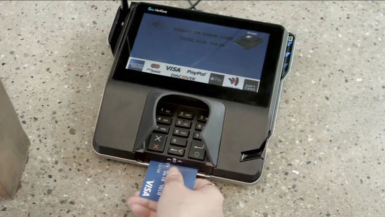 FILE - A credit card is is being used to make a purchase in this undated image.