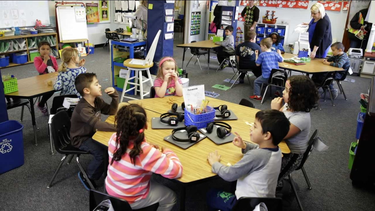 In this March 10, 2015 photo, teacher Allison Williams works with her kindergarten students in a lassroom at Des Moines Elementary School in Des Moines, Wash.