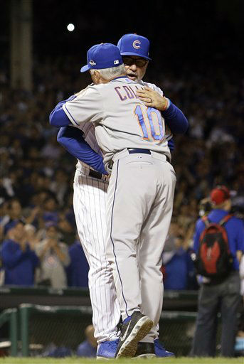 "<div class=""meta image-caption""><div class=""origin-logo origin-image none""><span>none</span></div><span class=""caption-text"">Chicago Cubs manager Joe Maddon hugs New York Mets manager Terry Collins before Game 3 of the National League baseball championship series. (AP Photo/David J. Phillip) (AP Photo/ David J. Phillip)</span></div>"